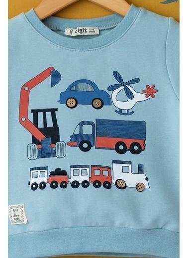 Cigit Karışık Araç Baskılı Sweatshirt Mavi
